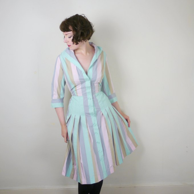 Pastel Carousel - pastel striped vintage dress