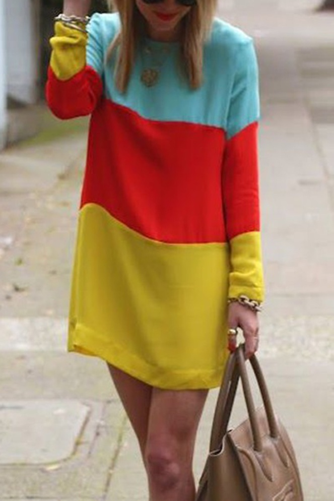 Pastel Carousel - Dresses for Fall - Oasap Colorblock Sweater Dress
