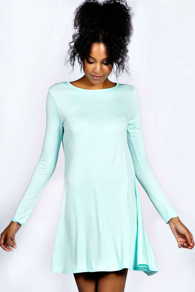 Pastel Carousel - Dresses for Fall - Boohoo Mint Long Sleeve Dress