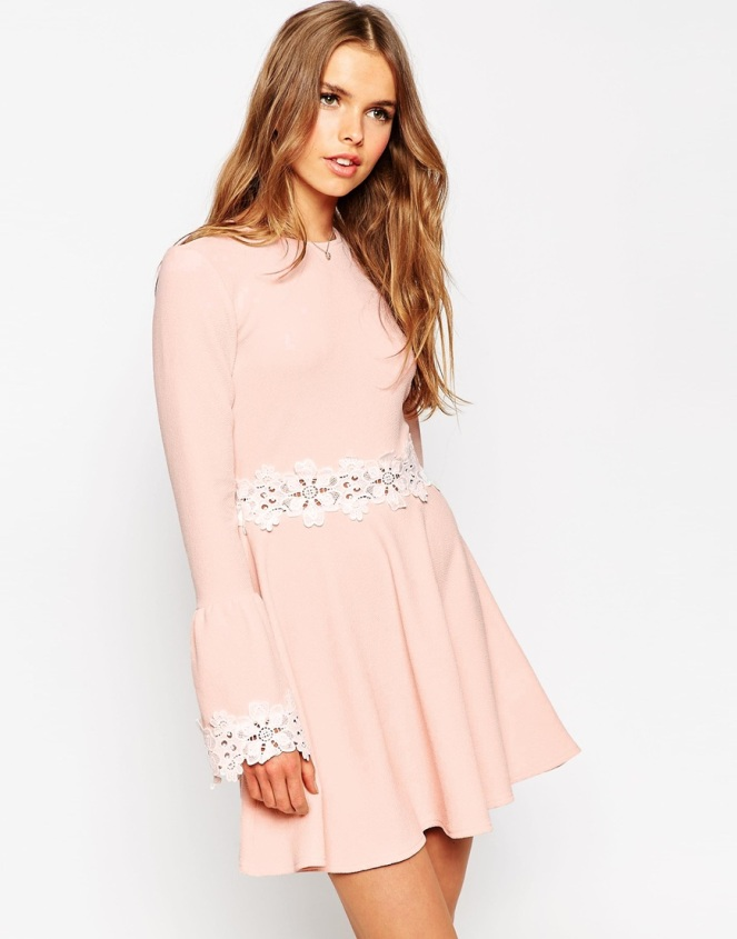 Pastel Carousel - Dresses for Fall - Asos Pink Snowflake Long Sleeve Dress
