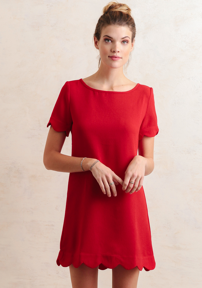Pastel Carousel   Monday Must Haves   Valentine's Day   Ruche Scalloped Red Dress
