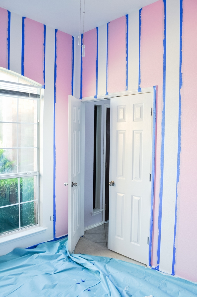 Pastel Carousel | Family | Home Renovation | DIY Pink Stripes