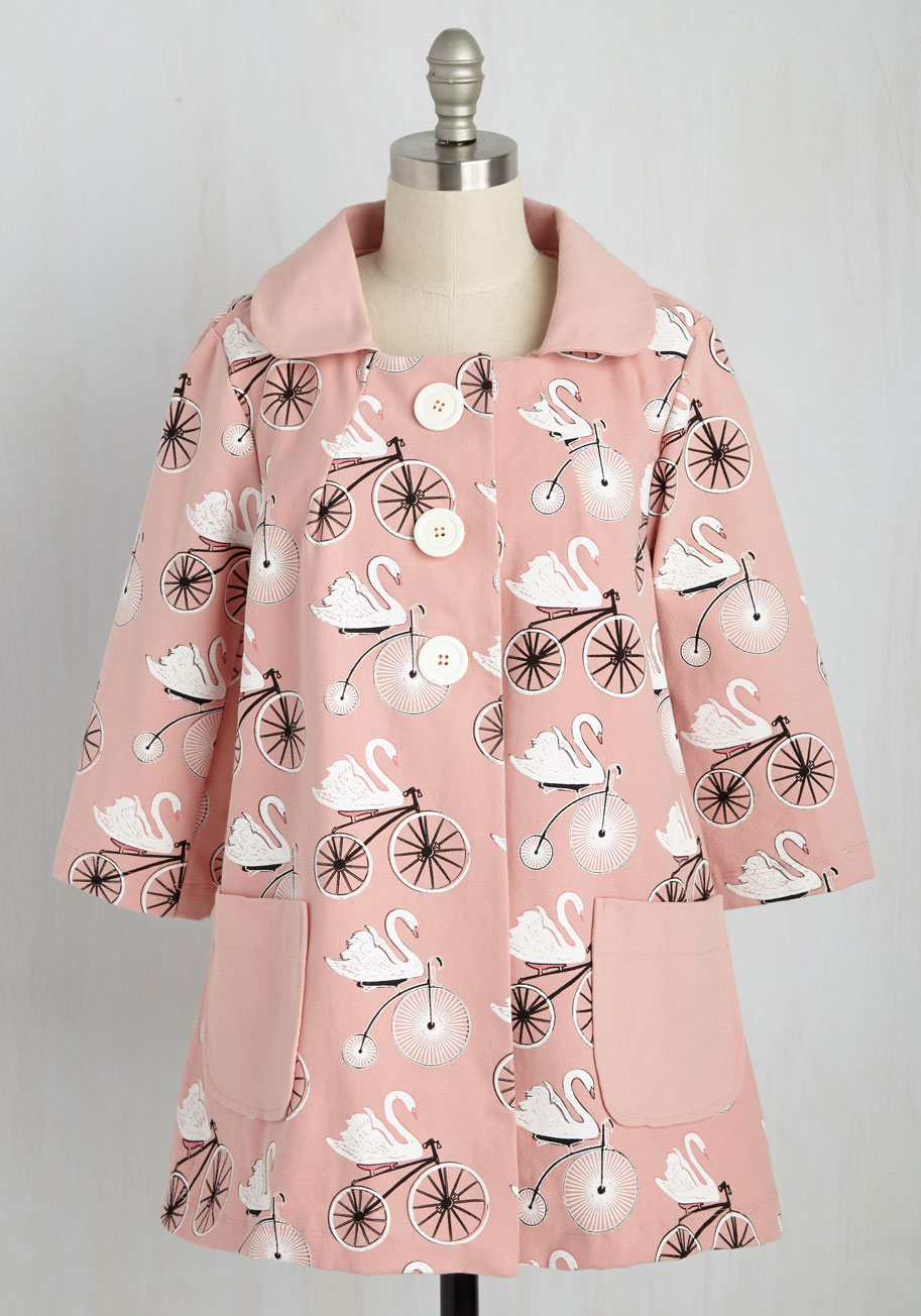 Pastel Carousel | Monday Must Haves | Sweet Spring Novelty Prints | Pink Swan and Penny Farthing Coat | ModCloth