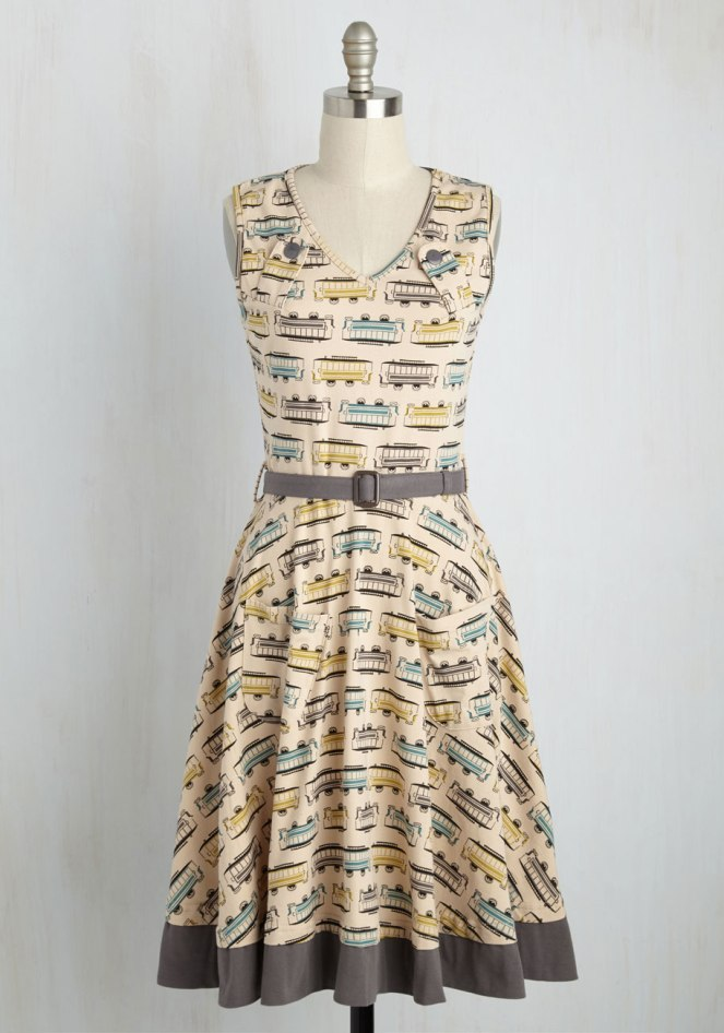 Pastel Carousel | Monday Must Haves | Sweet Spring Novelty Prints | Transit Trains Dress | ModCloth